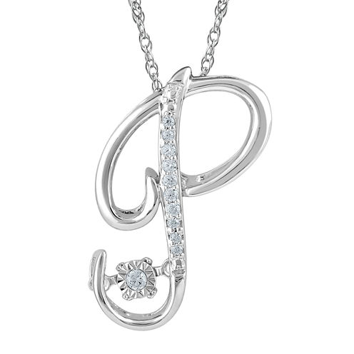 """Love in Motion™ Diamond-Accent Sterling Silver """"P"""" Pendant Necklace"""