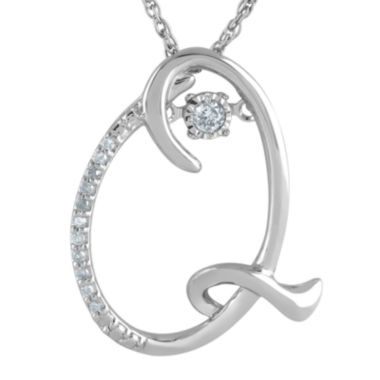 "jcpenney.com | Love in Motion™ Diamond-Accent Sterling Silver ""Q"" Pendant Necklace"