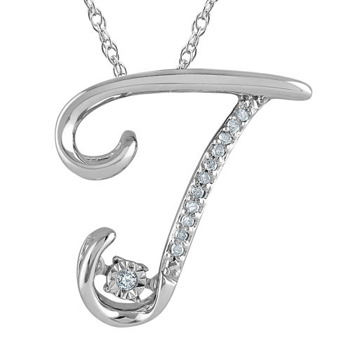 """Love in Motion™ Diamond-Accent Sterling Silver """"T"""" Pendant Necklace"""