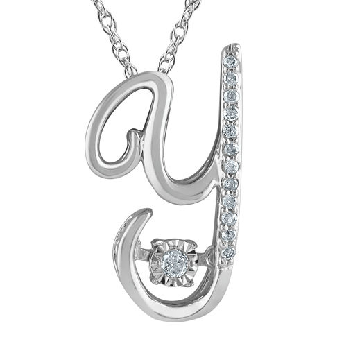 """Love in Motion™ Diamond-Accent Sterling Silver """"Y"""" Pendant Necklace"""