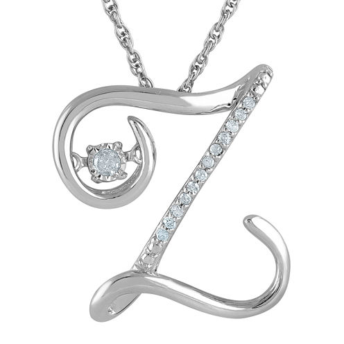 """Love in Motion™ Diamond-Accent Sterling Silver """"Z"""" Pendant Necklace"""
