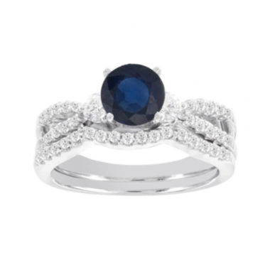 jcpenney.com | Blooming Bridal 1/2 CT. T.W. Diamond and Genuine Blue Sapphire Bridal Ring Set