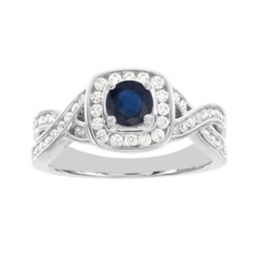 jcpenney.com | Blooming Bridal 1/2 CT. T.W. Diamond and Genuine Blue Sapphire Bridal Ring