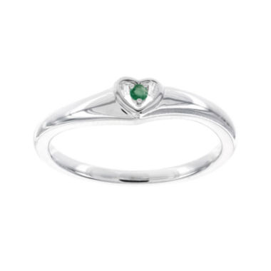 jcpenney.com | Genuine Emerald 10K White Gold Heart Promise Ring