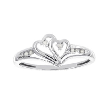 jcpenney.com | Diamond-Accent 10K White Gold Double-Heart Promise Ring
