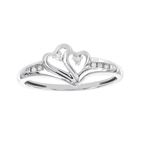 Diamond-Accent 10K White Gold Double-Heart Promise Ring
