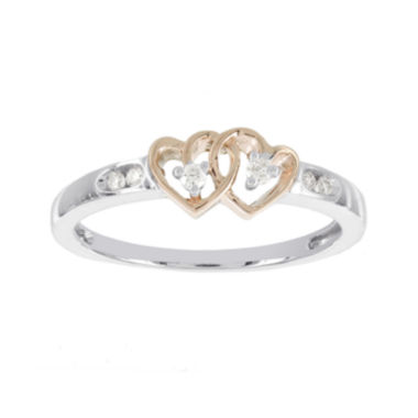 jcpenney.com | Diamond-Accent 10K Two-Tone Gold Double-Heart Promise Ring
