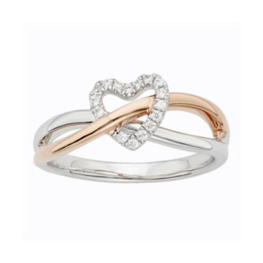 jcpenney.com | 1/10 CT. T.W. Diamond Two-Tone Heart Promise Ring