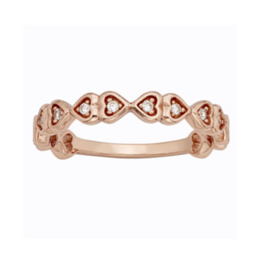 jcpenney.com | 1/10 CT. T.W. Diamond 10K Rose Gold Hearts Promise Ring