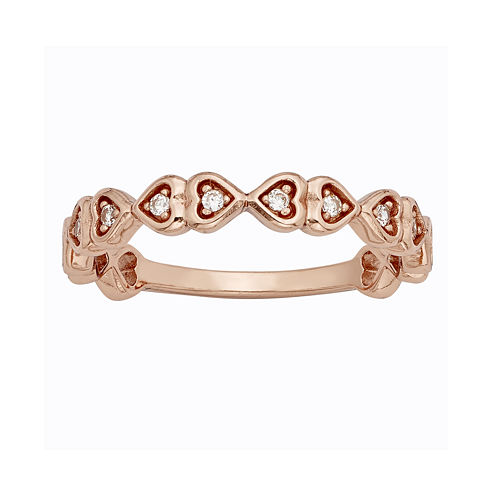 1/10 CT. T.W. Diamond 10K Rose Gold Hearts Promise Ring