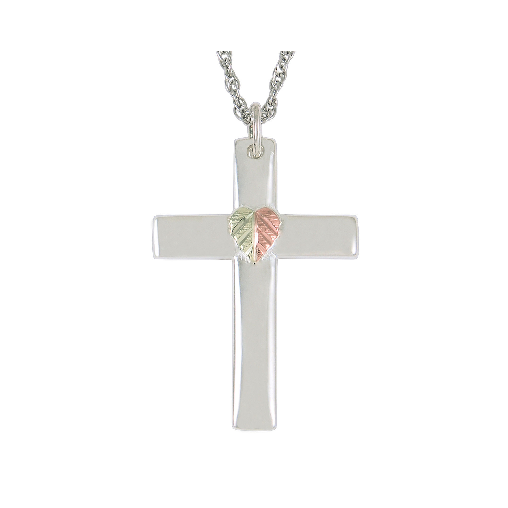 Black Hills Gold Jewelry by Coleman Sterling Silver Cross Pendant Necklace