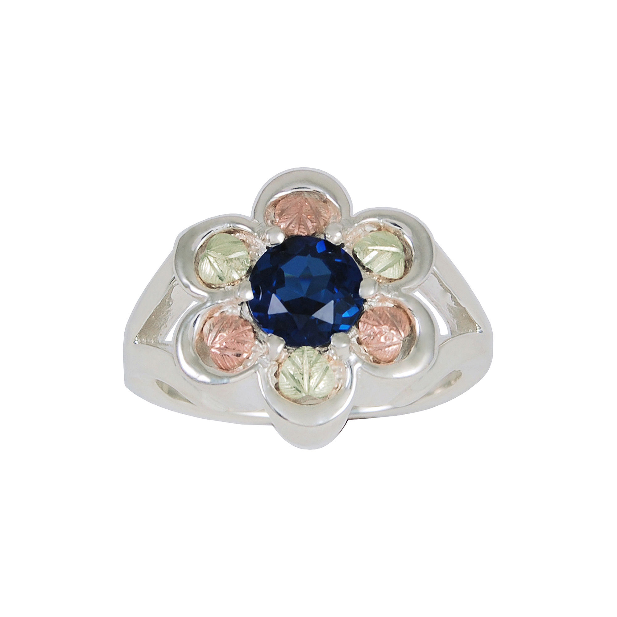 Black Hills Gold Jewelry by Coleman Sterling Silver Lab-Created Sapphire Flower Ring
