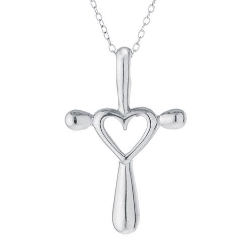 Sterling Silver Open Heart Cross Pendant Necklace