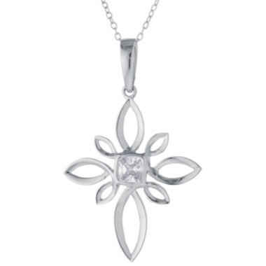 jcpenney.com | Cubic Zirconia Sterling Silver Elaborate Cross Pendant Necklace
