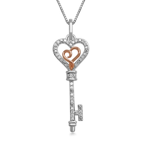 Hallmark Diamonds 1/10 CT. T.W. Diamond Heart Key Pendant Necklace