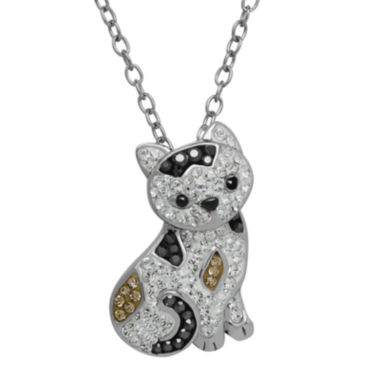 jcpenney.com | Animal Planet™ Crystal Sterling Silver Calico Cat Pendant Necklace