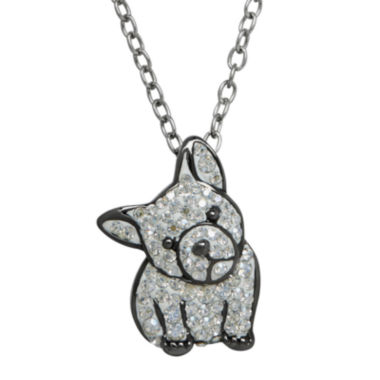 jcpenney.com | Animal Planet™ Crystal Sterling Silver French Bulldog Pendant Necklace