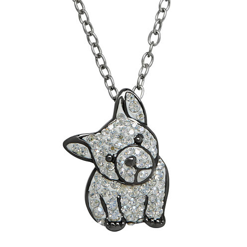 Animal Planet™ Crystal Sterling Silver French Bulldog Pendant Necklace
