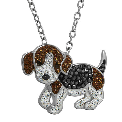 Animal Planet™ Crystal Sterling Silver Beagle Pendant Necklace