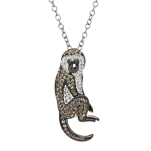 Animal Planet™ Crystal Sterling Silver Vervet Monkey Pendant Necklace