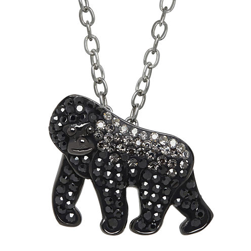 Animal Planet™ Crystal Sterling Silver Silverback Mountain Gorilla Pendant Necklace