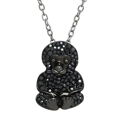 Animal Planet™ Crystal Sterling Silver Endangered Cross River Gorilla Pendant Necklace
