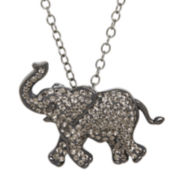 Animal Planet™ Crystal Sterling Silver Endangered Indian Elephant Pendant Necklace