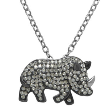jcpenney.com | Animal Planet™ Crystal Sterling Silver White Rhino Pendant Necklace