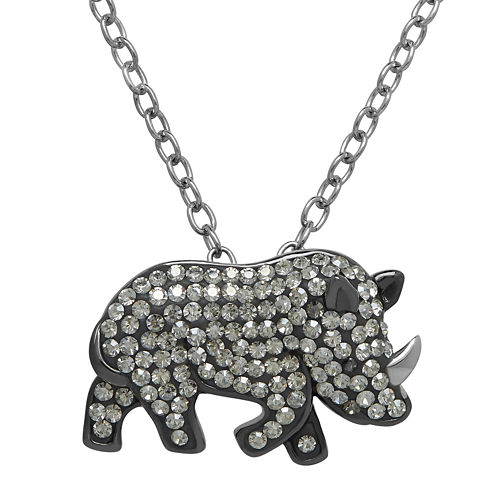 Animal Planet™ Crystal Sterling Silver White Rhino Pendant Necklace