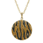 Animal Planet™ Crystal 14K Yellow Gold Over Silver Endangered Bengal Tiger Pendant Necklace
