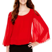 by&by Bell-Sleeve Bubble-Hem Chiffon Top