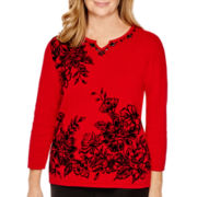 Alfred Dunner® Madrid 3/4-Sleeve Colorblock Top