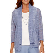 Alfred Dunner® Vienna 3/4-Sleeve Novelty-Stitch Layered Top
