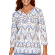 Alfred Dunner® Vienna 3/4-Sleeve Geometric Print Top