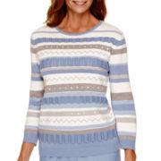 Alfred Dunner® Vienna 3/4-Sleeve Pointelle Sweater