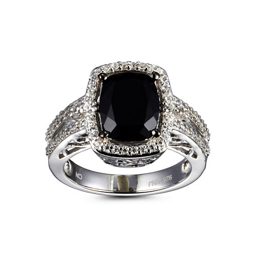 Womens Black Spinel Sterling Silver Halo Ring