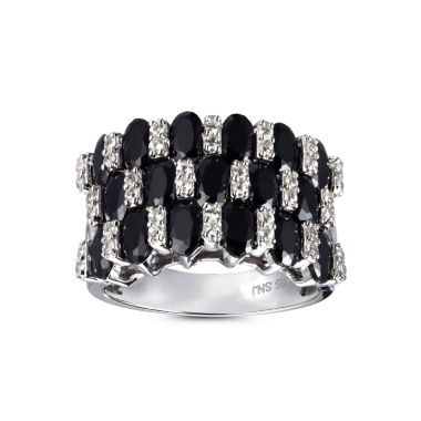 jcpenney.com | Womens Black Spinel Sterling Silver Side Stone Ring