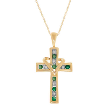 jcpenney.com | Womens Green Emerald 10K Gold Pendant Necklace