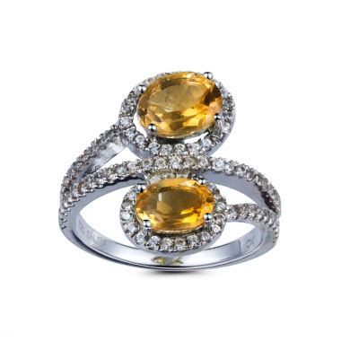 jcpenney.com | Womens Yellow Citrine Sterling Silver Bypass Ring
