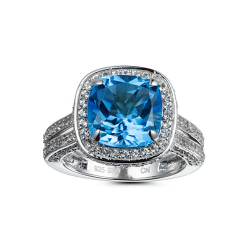 Womens Topaz Sterling Silver Halo Ring