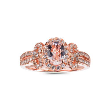 jcpenney.com | Womens Pink Morganite 14K Gold Over Silver Halo Ring