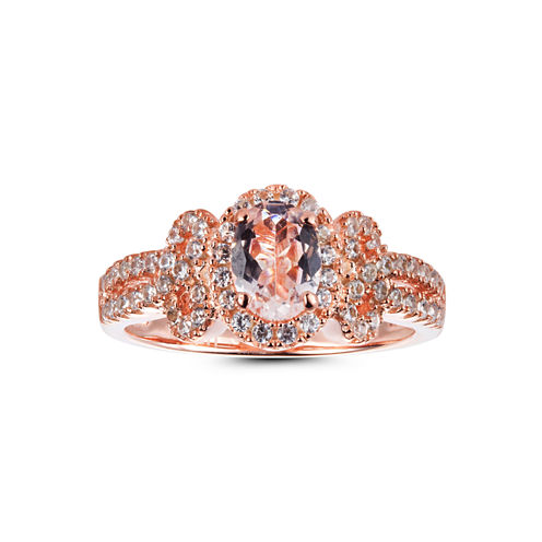 Womens Pink Morganite 14K Gold Over Silver Halo Ring