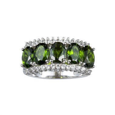 jcpenney.com | Womens Green Sterling Silver Side Stone Ring