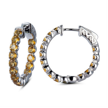 jcpenney.com | Yellow Citrine Sterling Silver Hoop Earrings