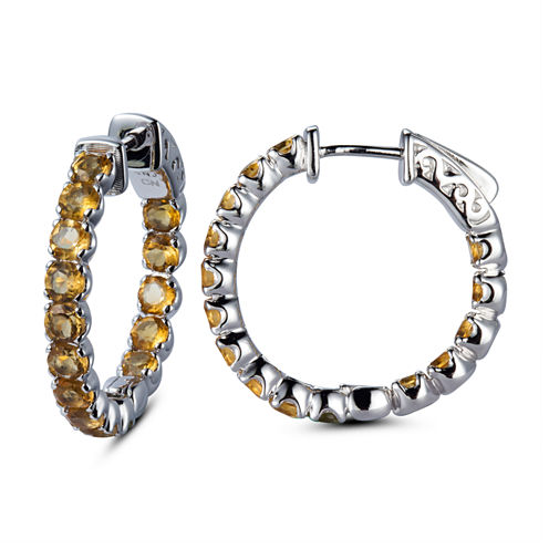 Yellow Citrine Sterling Silver Hoop Earrings