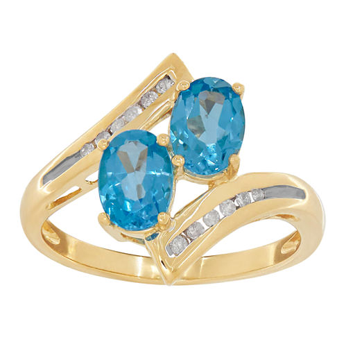 Womens Diamond Accent Blue Topaz 10K Gold Cocktail Ring