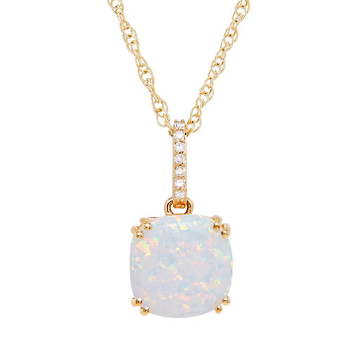 Lab Created Opal & Diamond Accent 10K Yellow Gold Pendant