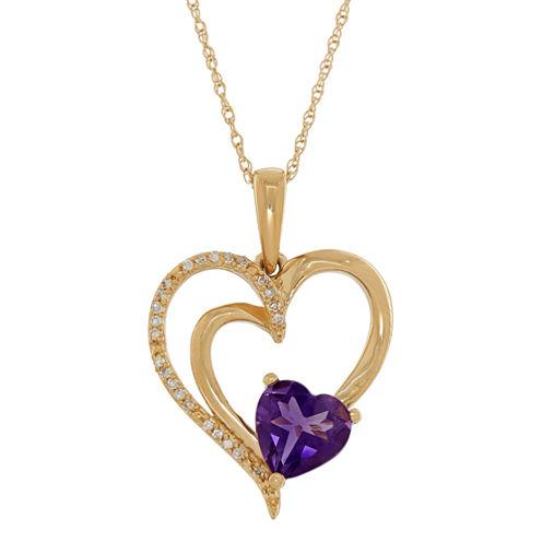 Womens Diamond Accent Purple Amethyst 10K Gold Pendant Necklace