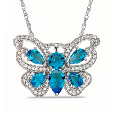 jcpenney.com | Simulated Blue Topaz & Lab Created White Sapphire Sterling Silver Pendant