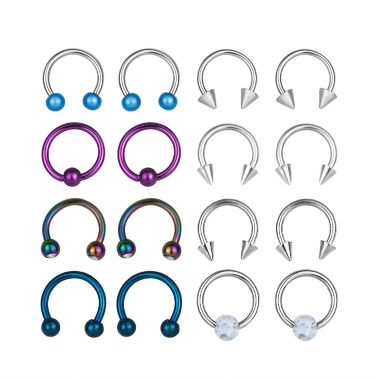 jcpenney.com | Stainless Steel 316L 8-pc 16 Ga. Captive Hoops And Horseshoe Set